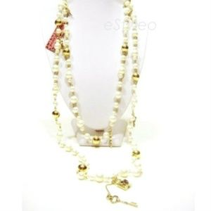Betsey Johnson Long Chain Necklace Pearl Lock Key